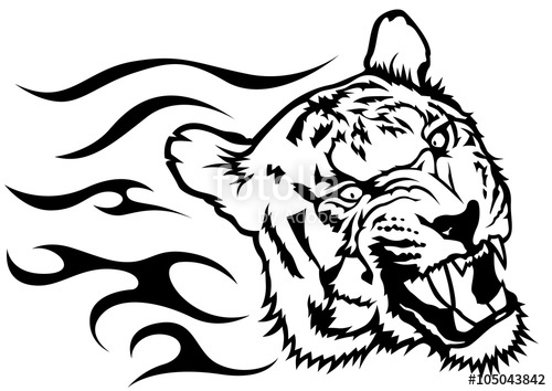 500x354 Tiger Head With Flames
