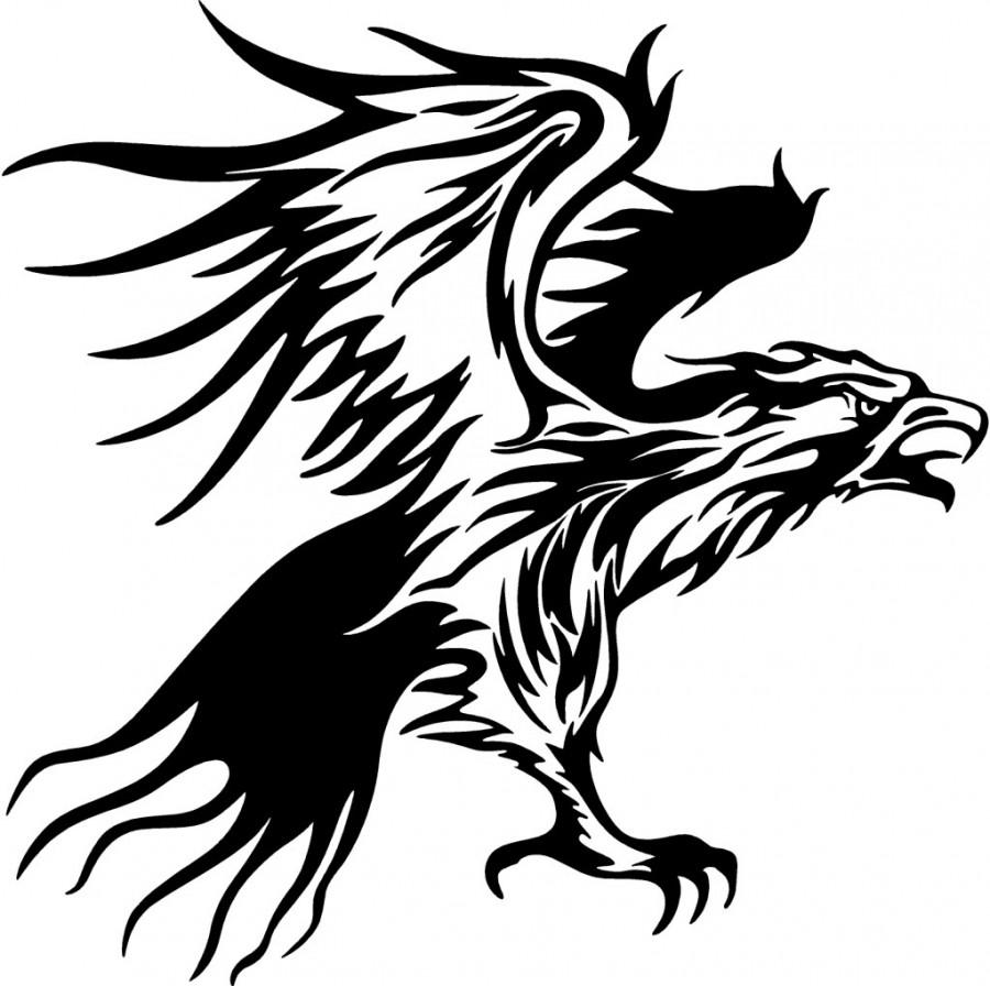 900x896 Tribal Flames Eagle Carvehicle Tattoo Design