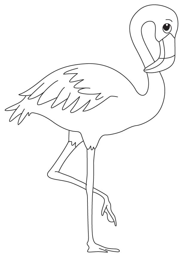 Simple Flamingo Coloring Page