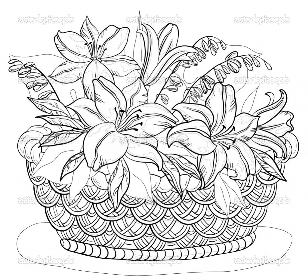 1024x931 Flower Basket For Drawing Basket Of Flower Drawings Easy Drawing