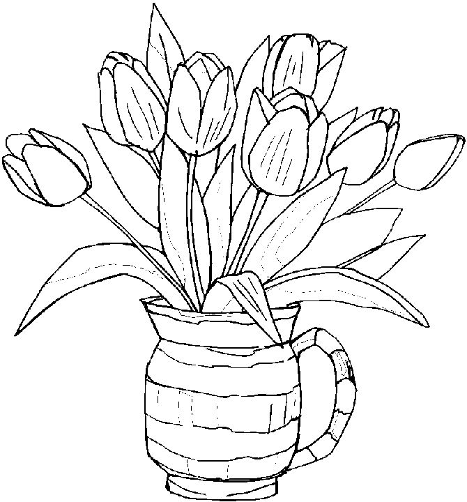 670x720 Photos Flower Pot Of Design On Flower Simple Drawing 5,