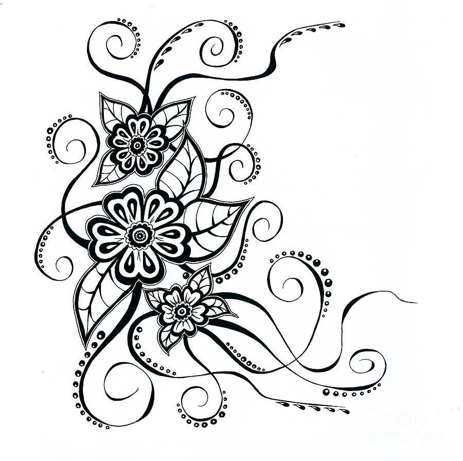 Simple Floral Line Art : Simple flower patterns drawing at getdrawings free