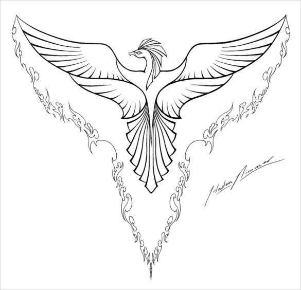 Simple Flying Bird Drawing