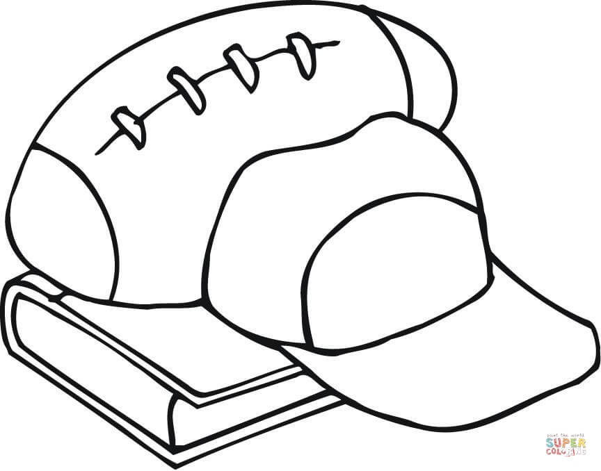 864x678 Outline Of Football Equipment And A Book Coloring Page Free