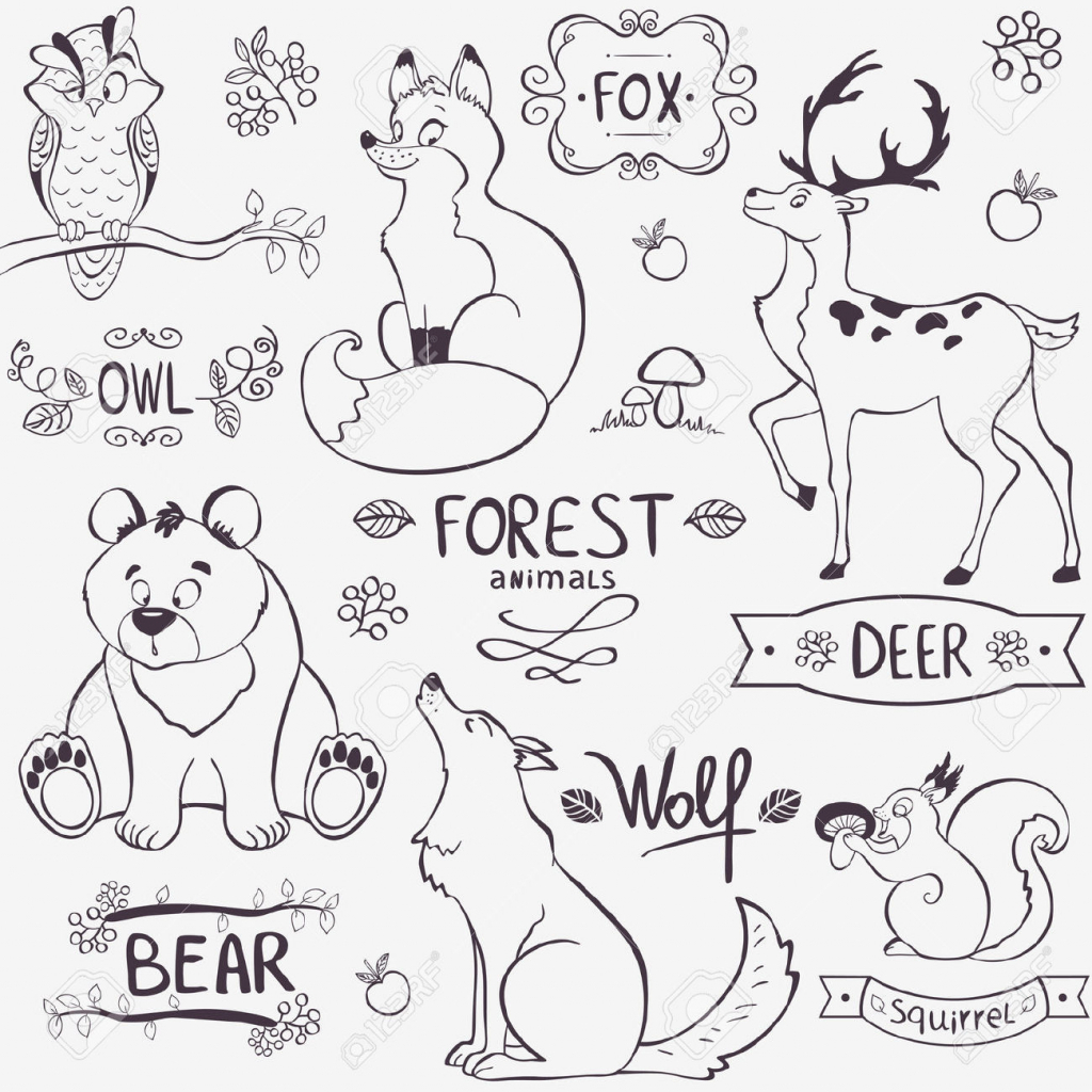 1024x1024 Forest Animals Drawing Forest And Animals Simple Drawing