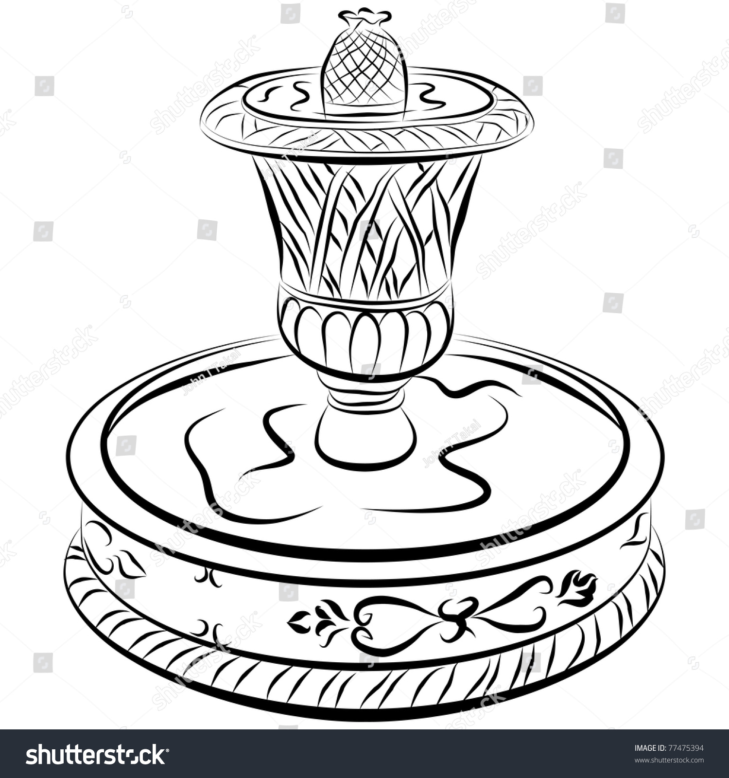 1500x1600 Water Fountain Drawing Drawing A Simple Garden Fountain How