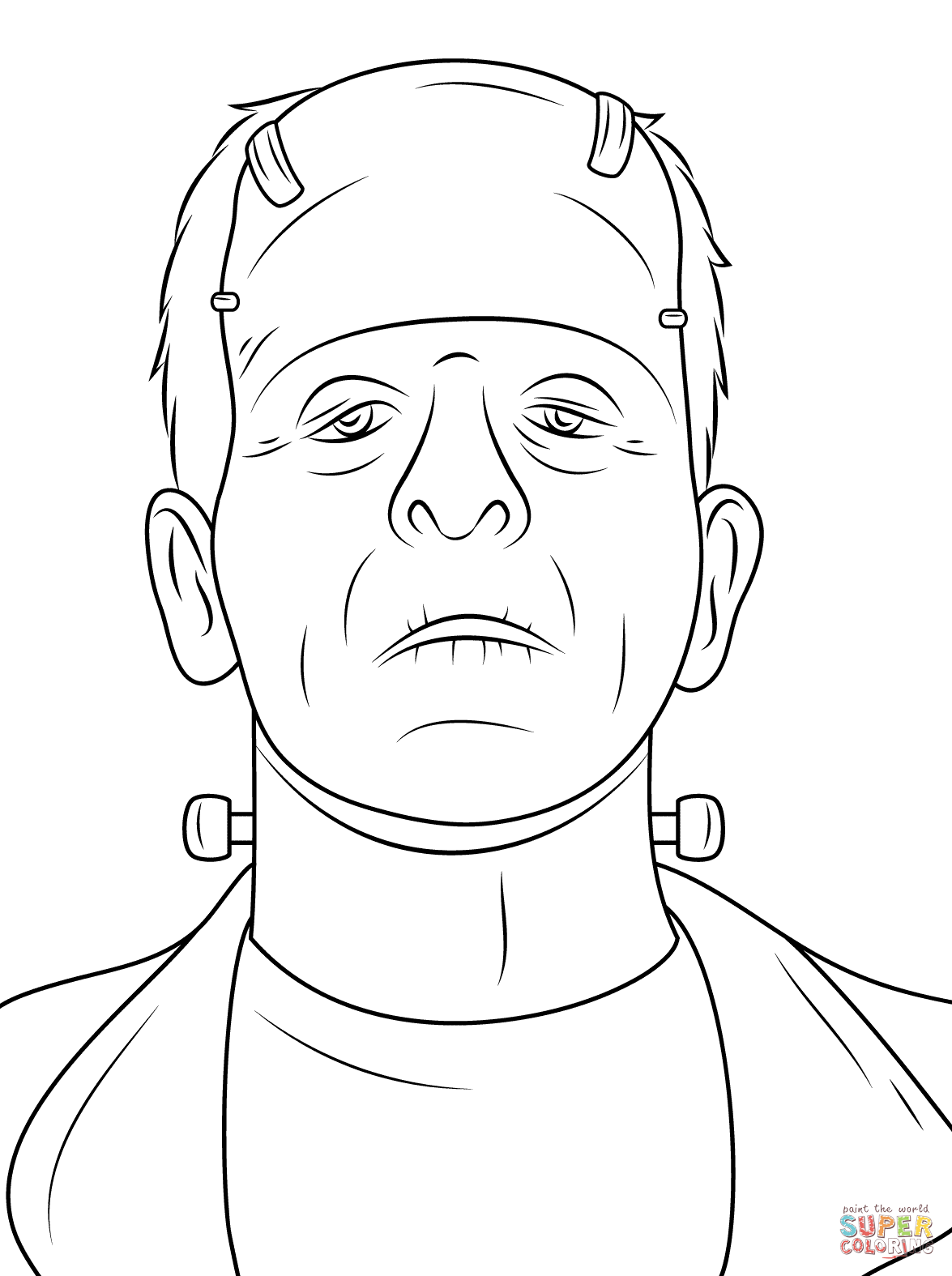 1175x1575 Scary Frankenstein Head Coloring Page Free Printable Coloring Pages