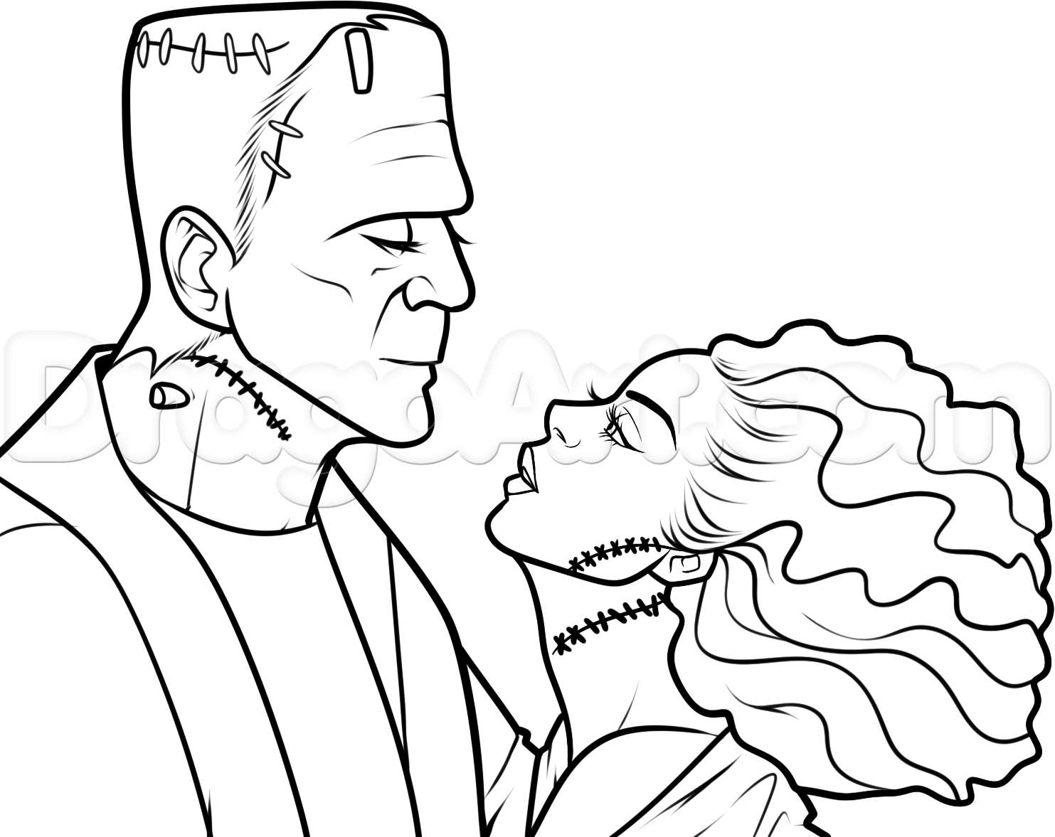 1483x1177 How To Draw Frankenstein And His Bride Step 12 Z