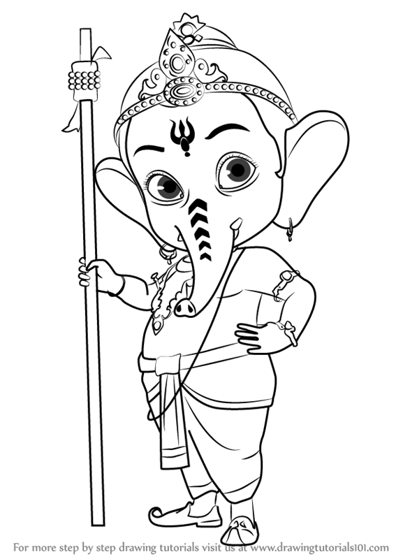 567x800 Learn How To Draw Bal Ganesh (Hinduism) Step By Step Drawing