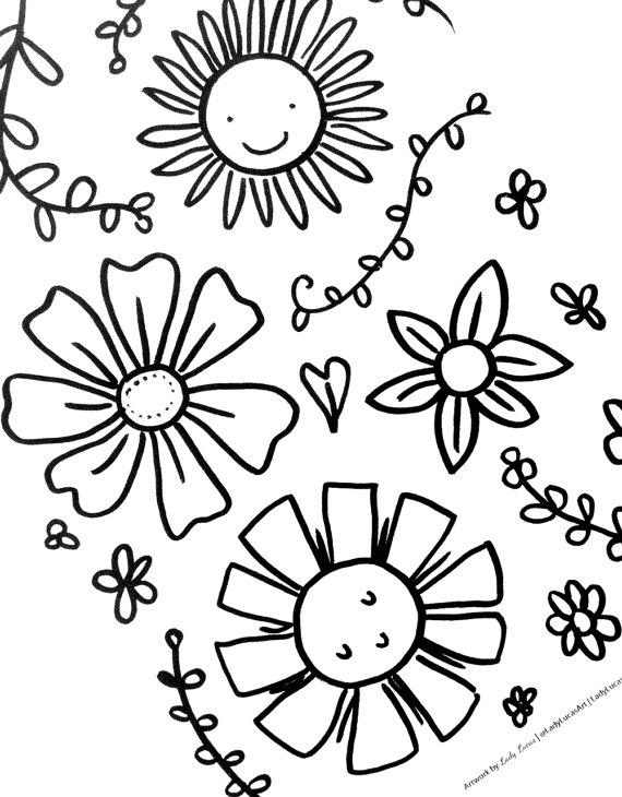 570x730 Garden Coloring Book Printable 20 Cute Simple Garden Motif