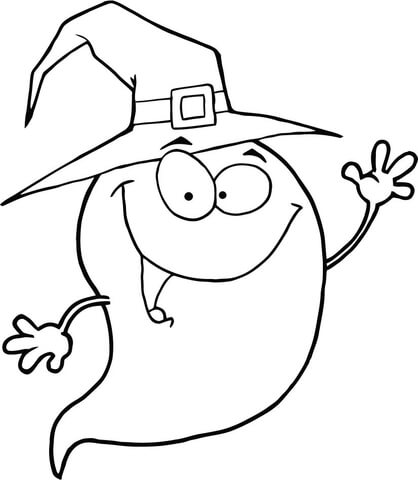 418x480 Halloween Ghost Wearing A Witch Hat Coloring Page Free Printable