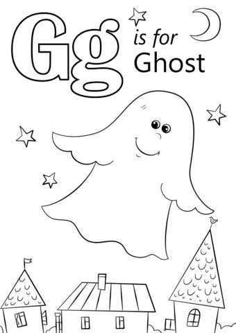 340x480 Letter G Is For Ghost Coloring Page Free Printable Coloring Pages