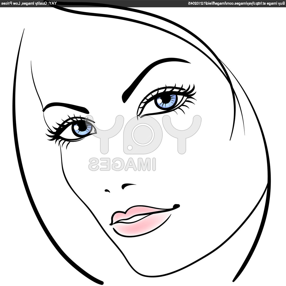1208x1210 Girl Face Draw Simple