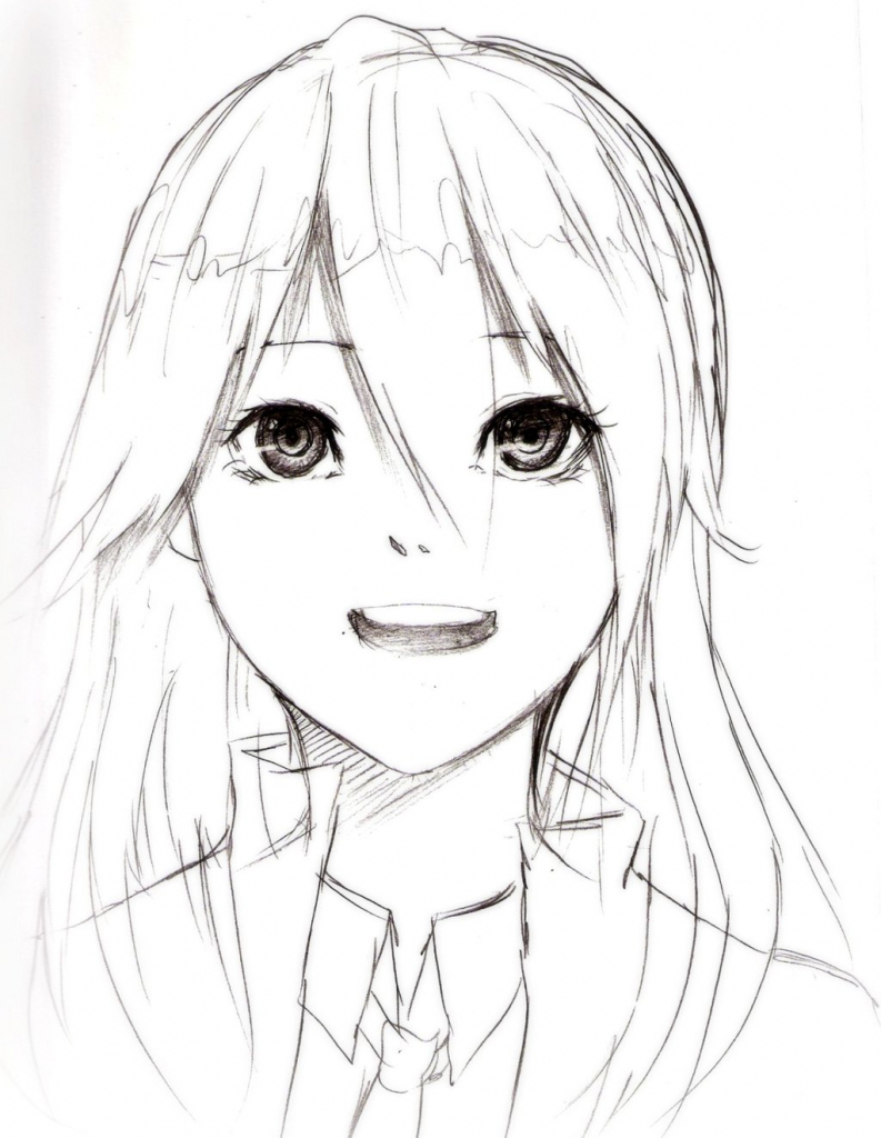 793x1024 Cute Pretty Anime Girl Images For Sketch Simple Anime Girl Drawing