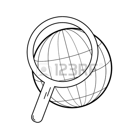 450x450 Modern Thin Line Icon. Globe Under A Magnifying Glass. Search