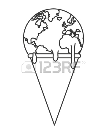 360x450 Simple Flat Design Planet Earth Melting Icon Vector Illustration