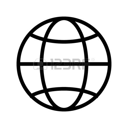 450x450 Simple Globe Diagram With Latitude Lines And Meridians Vector