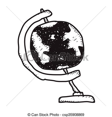 450x470 Simple Doodle Of A Globe. Simple Hand Drawn Doodle Of A Clip