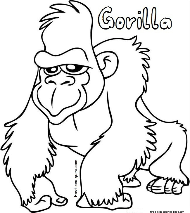 650x729 Powerful Ape 18 Printable Gorilla Coloring Pages Easy Amp Mandala