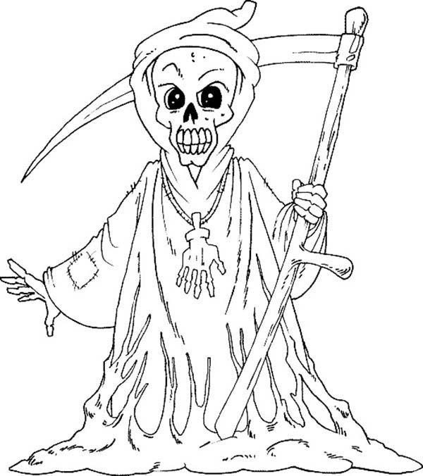 600x676 Grim Reaper Halloween Coloring Pages Grim Reaper Clip Art