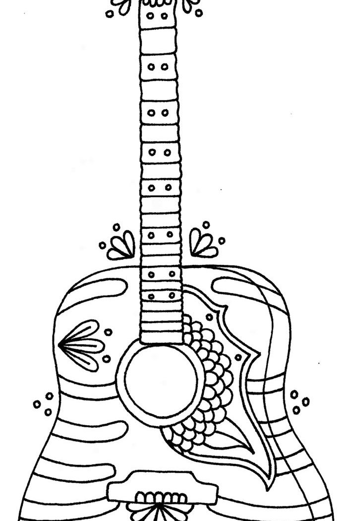 702x1050 Electric Guitar Coloring Pages