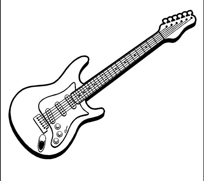 678x600 Guitar Colouring Pages Kids Coloring