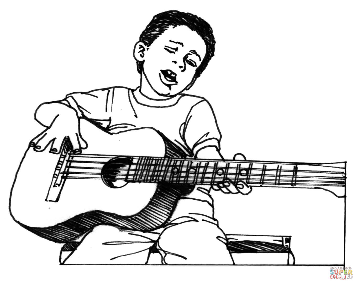 1500x1195 Man Playing Guitar Drawing Boy Plays Guitar Coloring Page Free