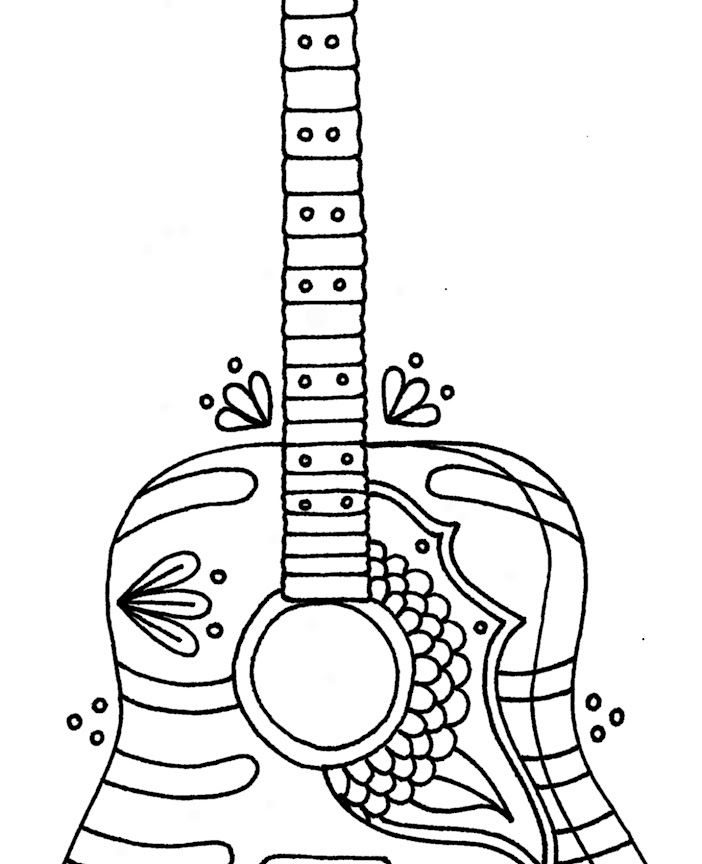 702x864 Delighted Guitar Coloring Pages Printable Pictures Inspiration