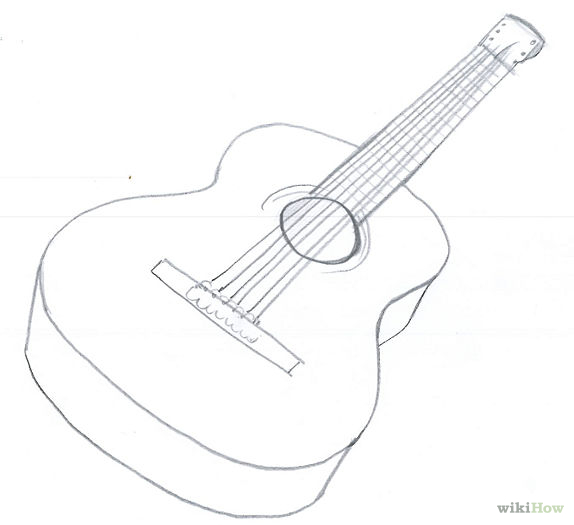 574x525 Draw An Acoustic Guitar Acoustic Guitar, Guitars And Drawings