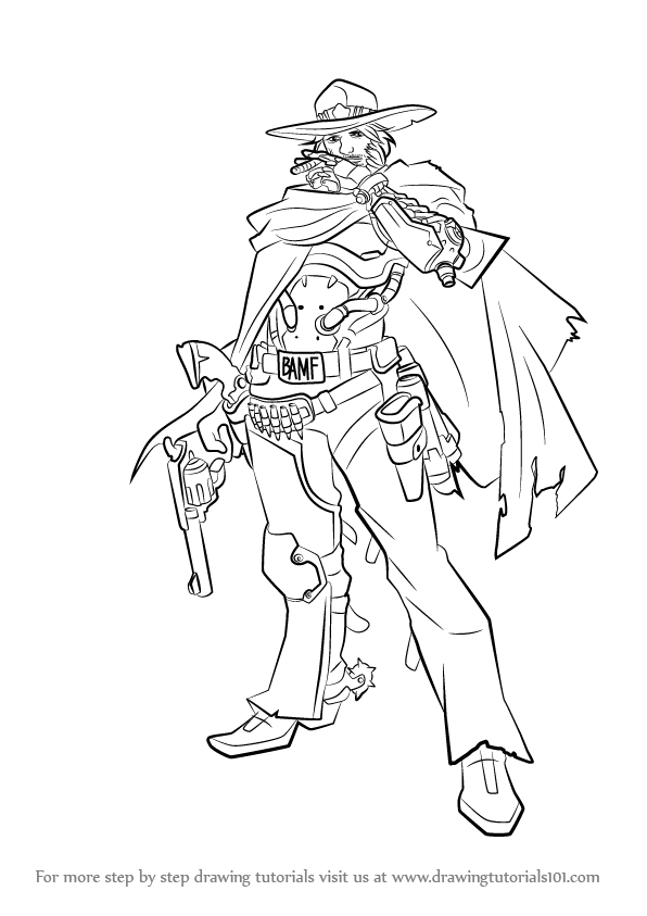596x843 Learn How To Draw Mccree From Overwatch (Overwatch) Step By Step