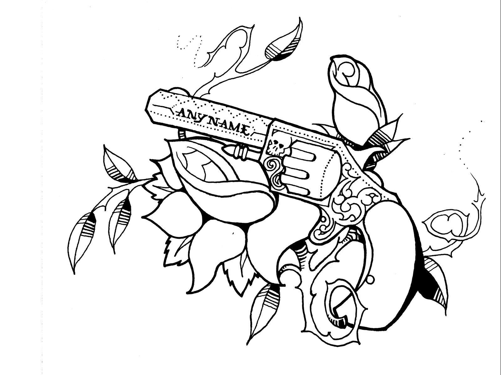 1600x1200 Pistol Gun Tattoo Drawing Pistol Tattoo Drawings For Girls