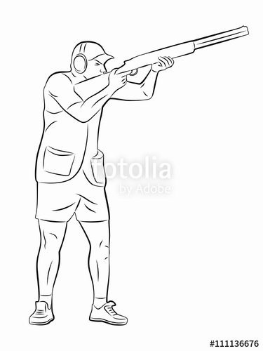 375x500 Silhouette Trap Shooter. Vector Drawing Stock Image And Royalty