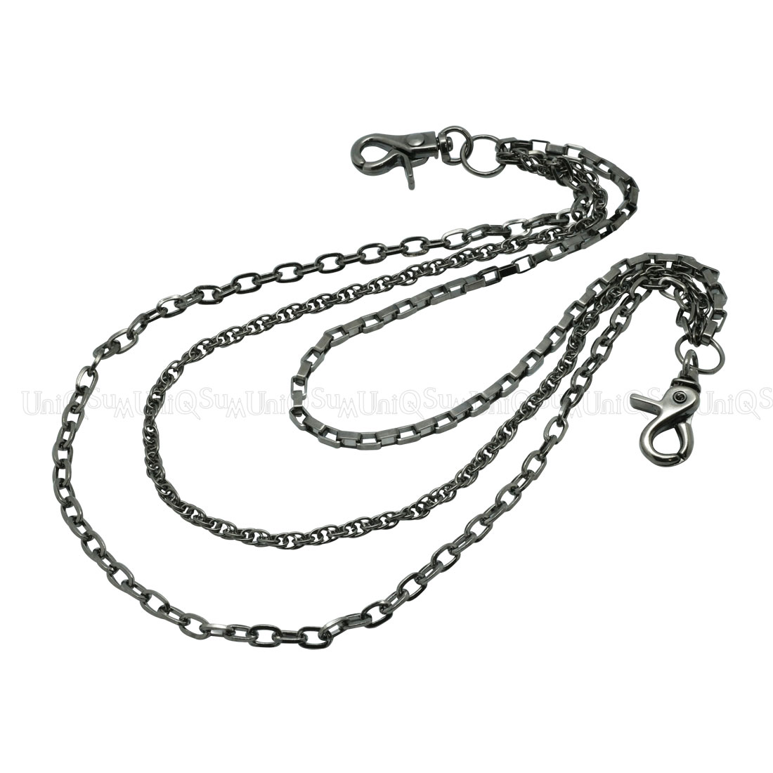 1100x1100 Simple Slim Triple Wallet Chain Lightweight Biker Chain Gun Metal