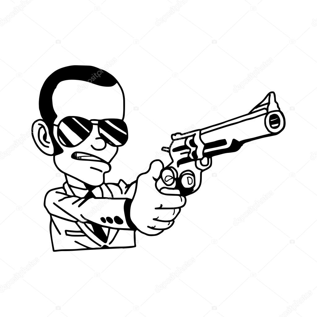 1024x1024 Illustration Vector Hand Drawn Doodle Of Man In Suit Holding Gun