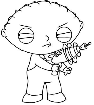 400x447 Drawing Stewie From Family Guy With Toy Gun Lesson