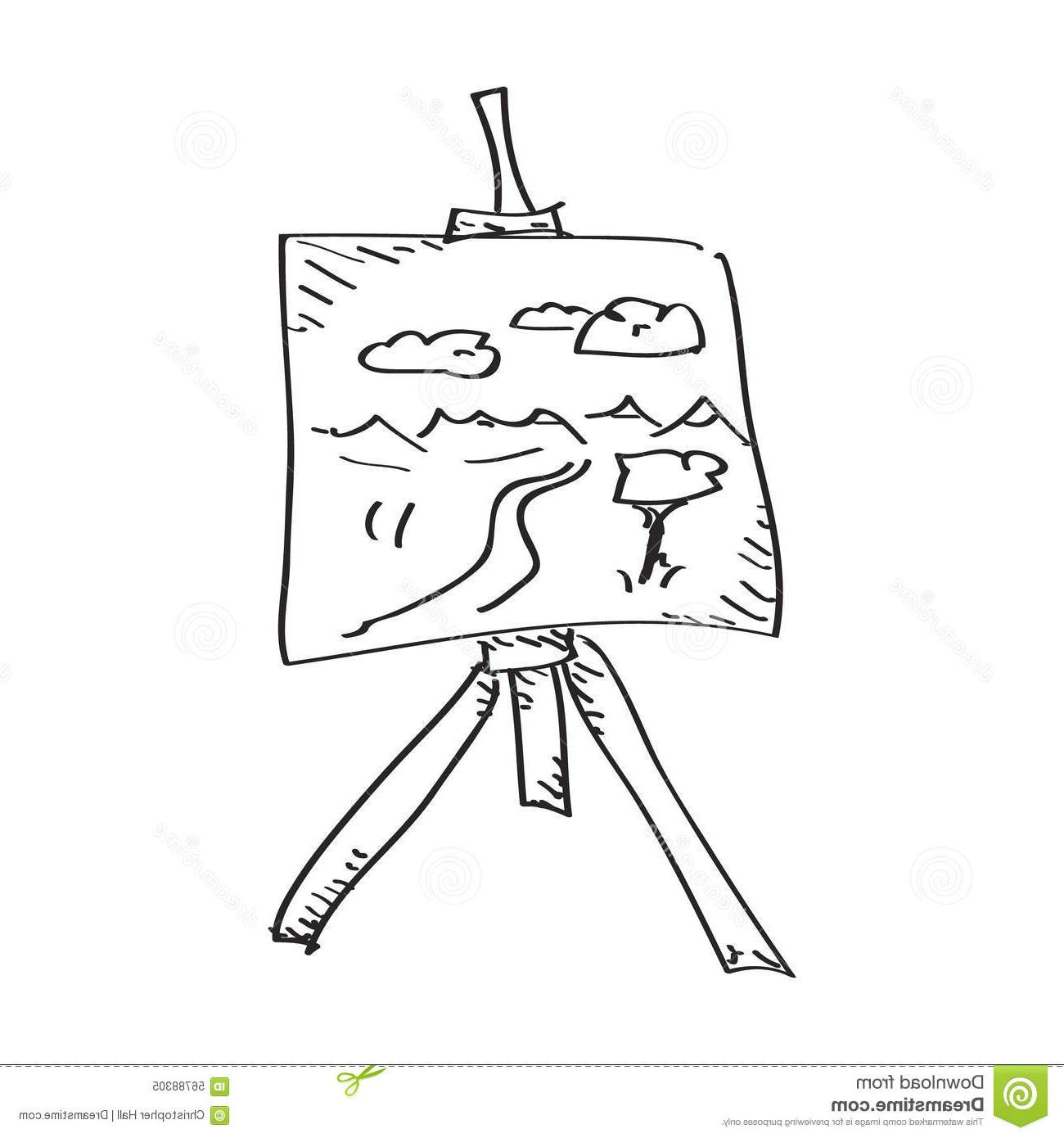 1300x1390 Simple Doodle Artist Easel Hand Drawn Artists