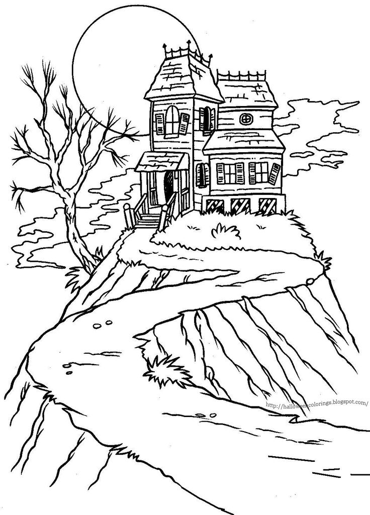 Simple Haunted House Drawing
