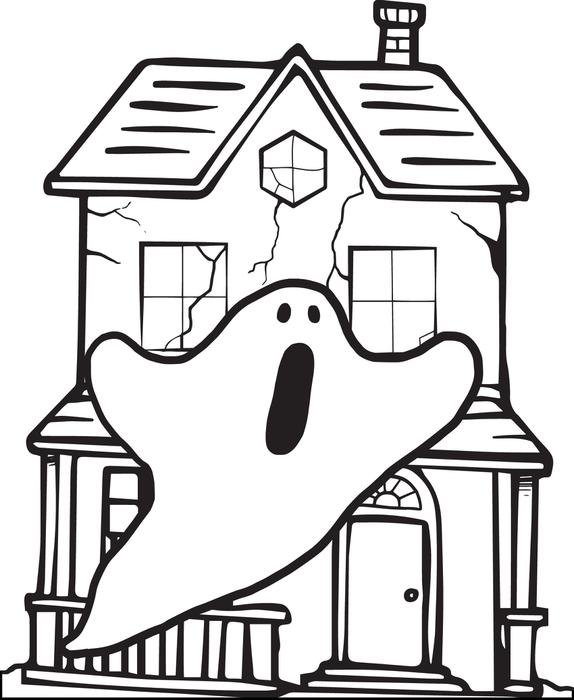 574x700 free printable halloween haunted house coloring page for kids - Halloween House Coloring Pages