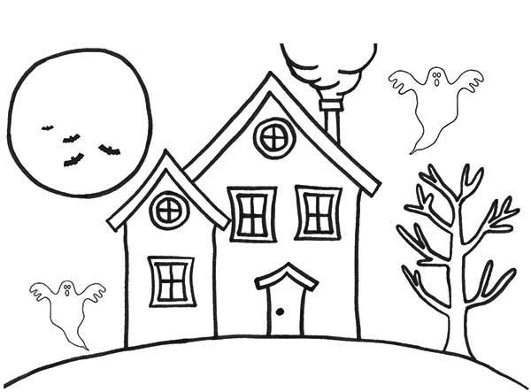 600x443 haunted houses in the night coloring page color luna - Coloring Pages Of Houses