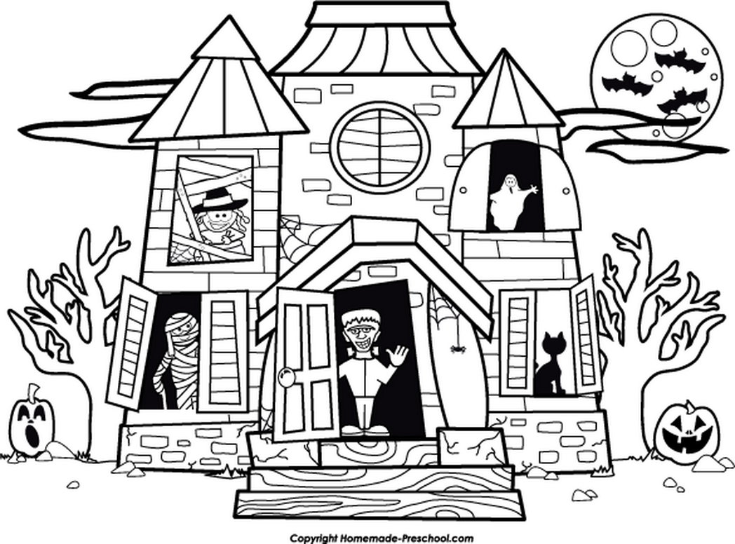 1048x776 Awesome Haunted House Colouring Page Cool Ideas