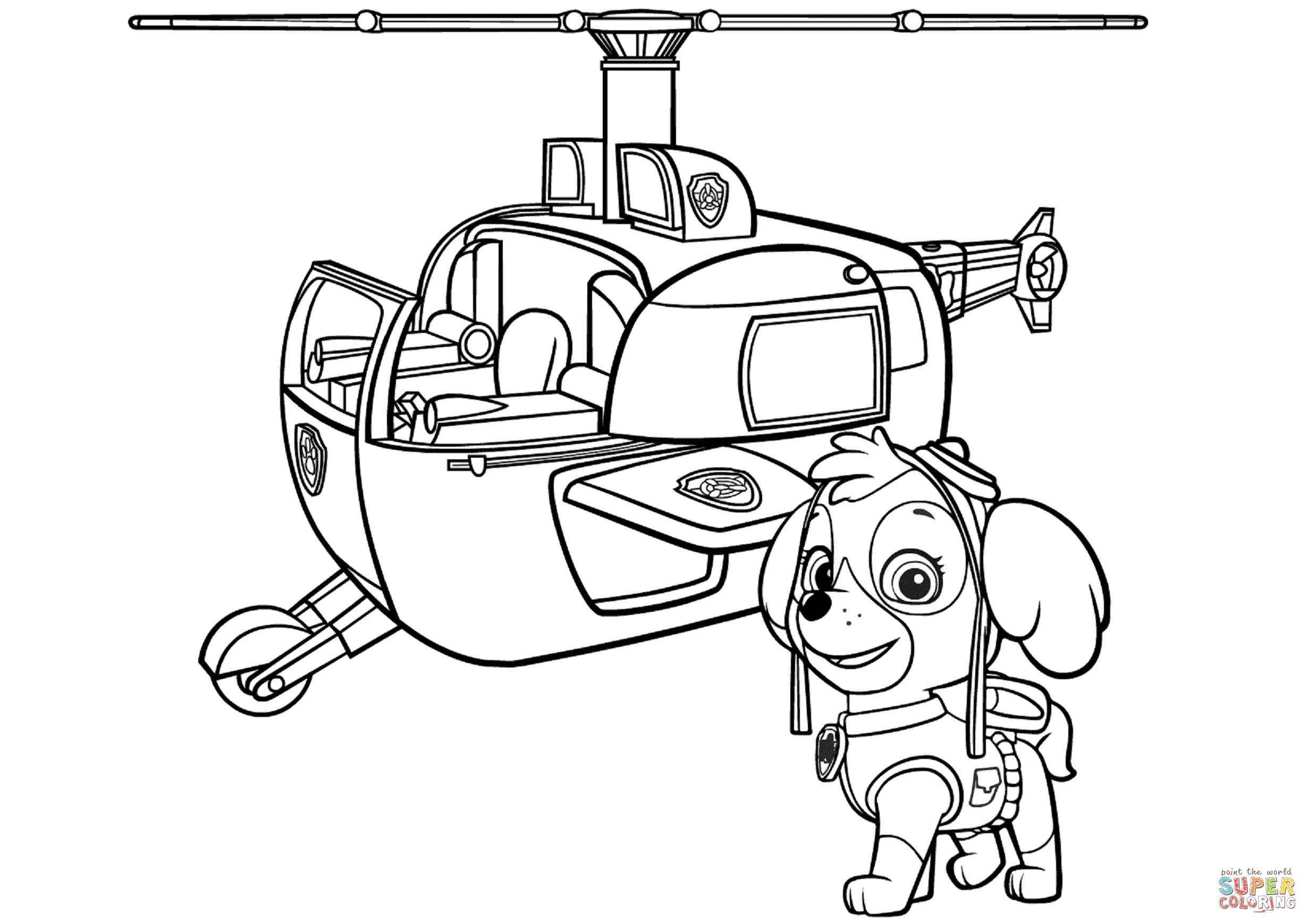 2461x1740 Paw Patrol Skye's Helicopter Coloring Page Free Printable