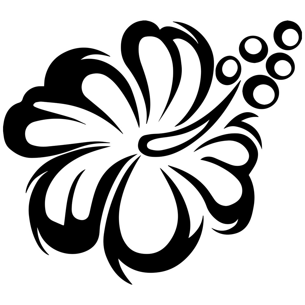 1000x1000 Simple Black And White Flower Clipart