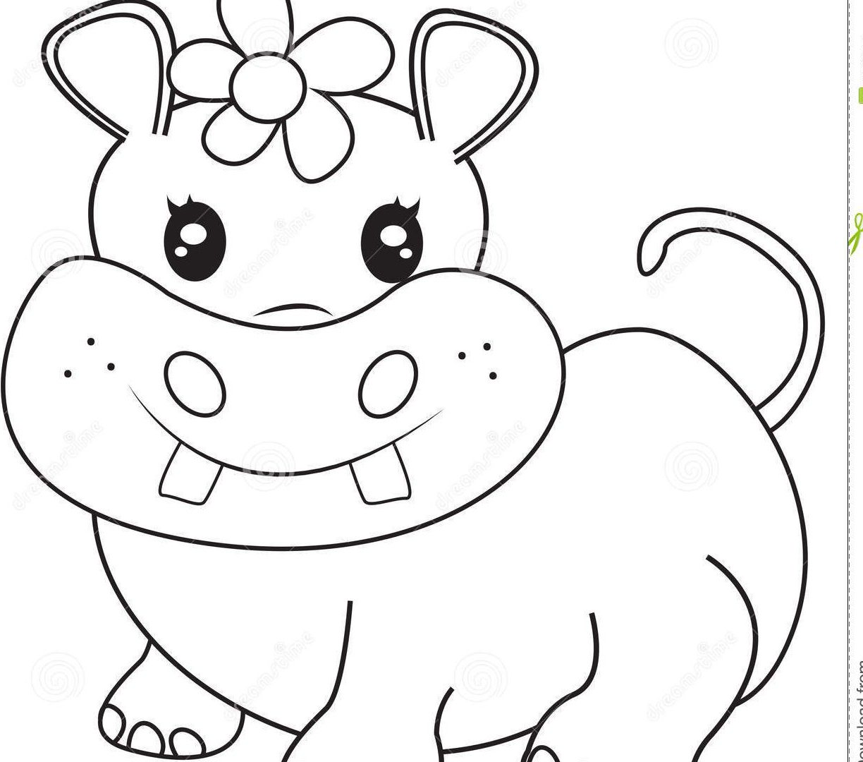1224x1080 Coloring Page Hippo Pages To Print Free For Kids Printable