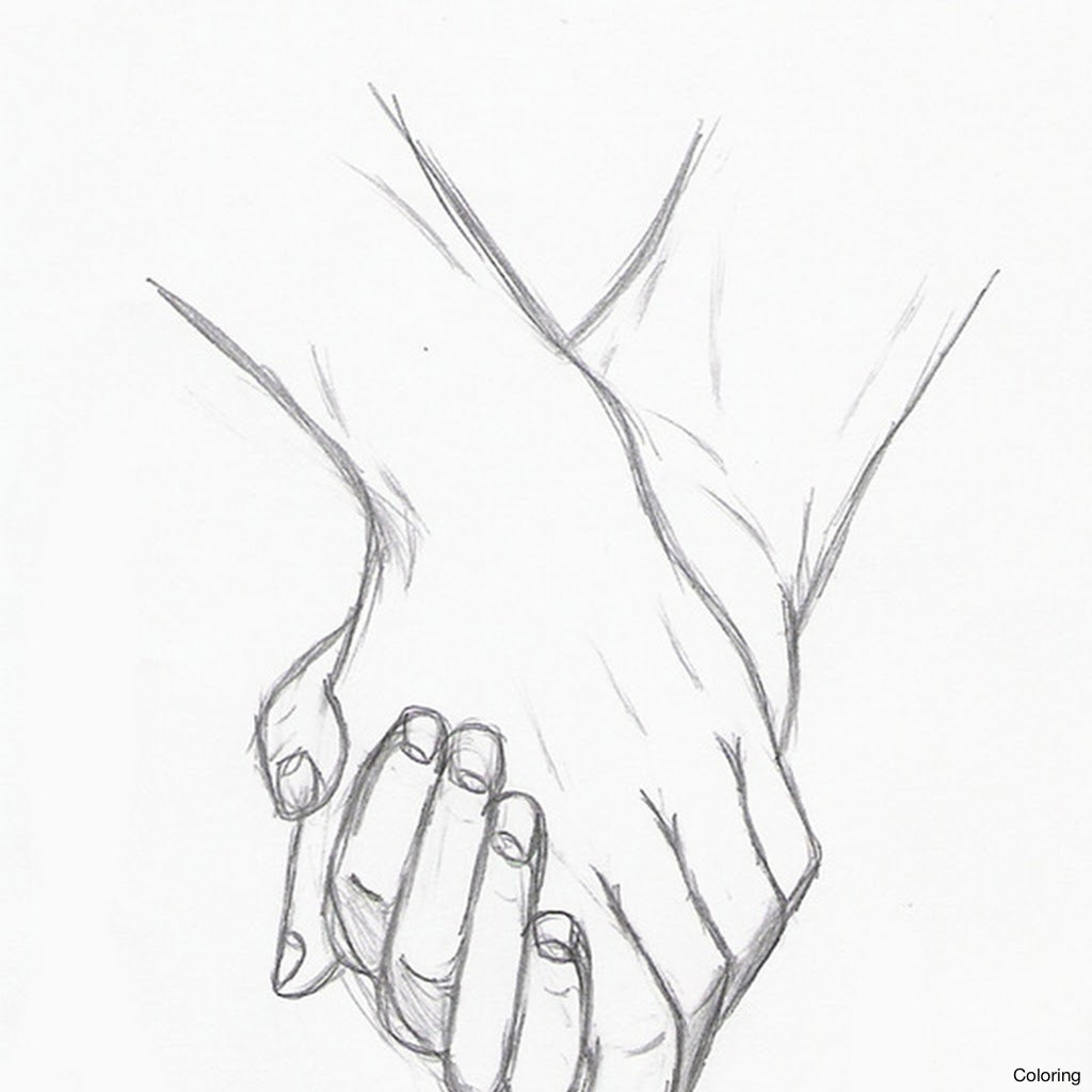 1024x1024 Drawn Kopel Drawing 8 Draw Holding Hands Coloring Pin Couple Hand
