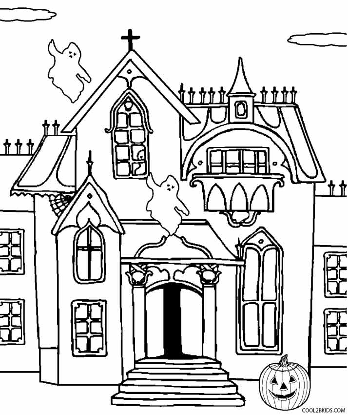 714x850 Printable Haunted House Coloring Pages For Kids Cool2bKids