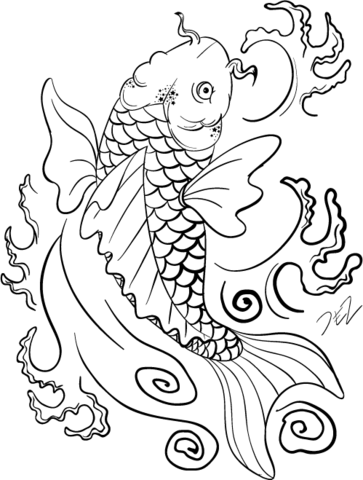 363x480 Koi Fish Art Coloring Page Free Printable Coloring Pages