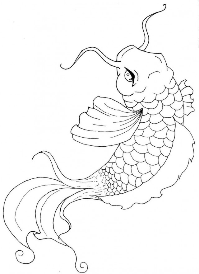 640x880 Koi Fish Coloring Pages Japanese Koi Fish Coloring Pages Kids