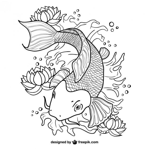 626x626 Koi Fish Line Art Vector Vector Free Download