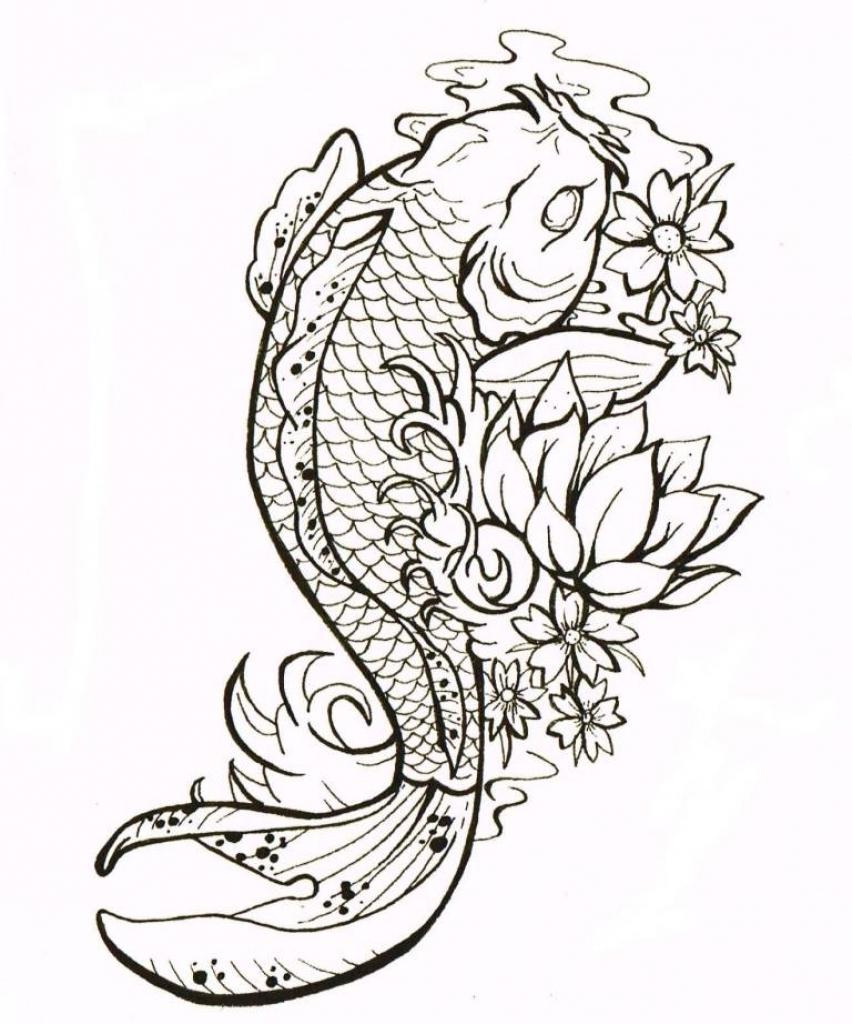 852x1024 Koi Fish By Darkphoenix1982. Koi Fish Drawing Best Tattoo Design