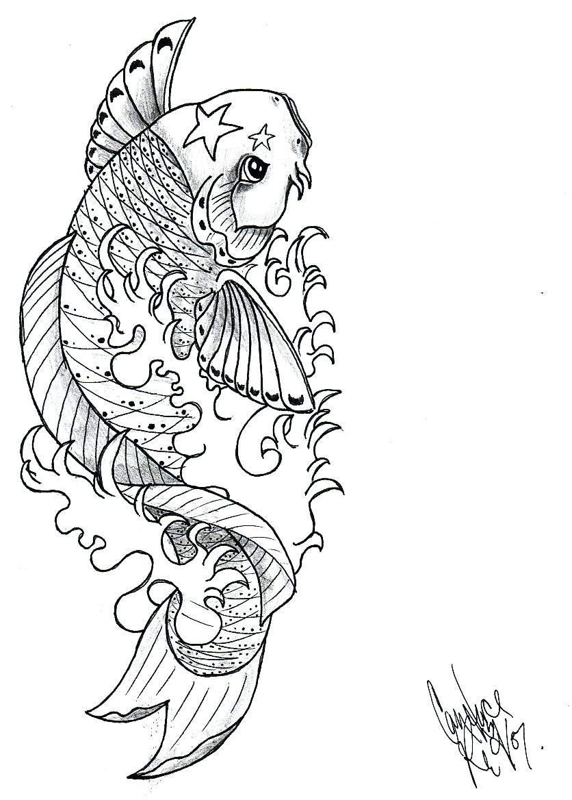 836x1168 Comments Off On Simple Draw Fish Tattoo Design Japanese Koi Lucky